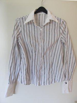 Bluse schwarz weiß silber gestreift Gr. 38