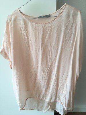 Bluse Seide Hallhuber oversize 42 M/L rosa Rose Viskose Shirt