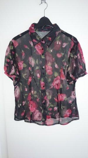 Bluse Seide Seidenbluse kurzarm schwarz rot Blumenmuster von Mariposa Gr. 46