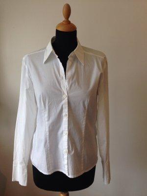 Bluse Seidensticker weiß tailliert Stretch Baumwolle schöner Kragen edel