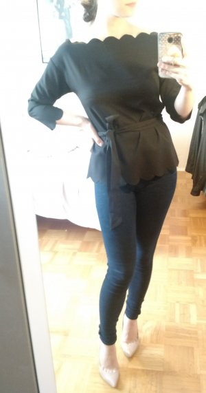 Bluse Shein Sheinside Gr S 36 schwarz Tunika Longbluse blogger U boot ausschnitt