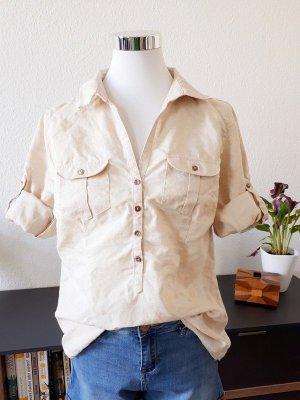 Canda Blusa in lino beige chiaro-marrone chiaro Lino