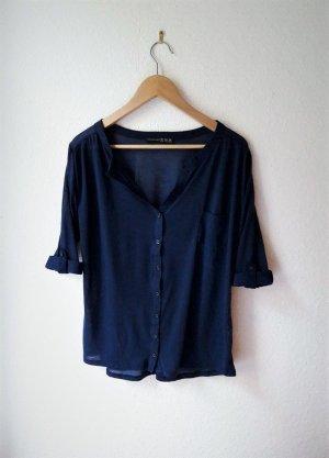 Bluse Shirt blau 3/4-Arm transparent Knopfleiste Stehkragen 38