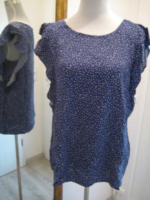 Bluse Shirt Blau weiss gepunktet Gr 40