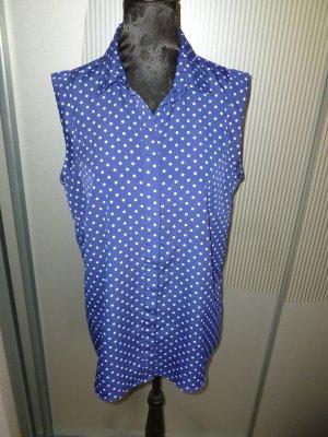 Bluse Shirt blau weiß Punkte passport