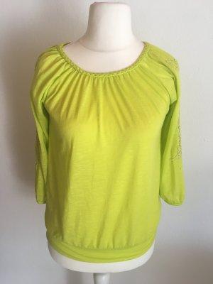 Bluse Shirt Blusenshirt 3/4 Ärmel grün limette Gr. S
