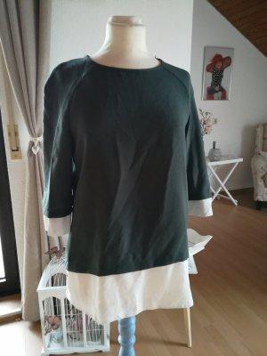 Bluse Shirt doppellagig Chiffon oliv khaki weiß