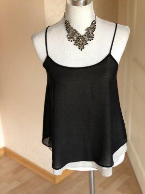 Camisa con cuello caído negro-beige
