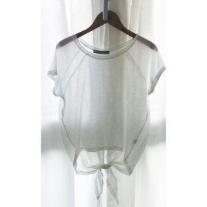 Bluse Shirt Knoten Oberteil Chiffon weiß durchsichtig
