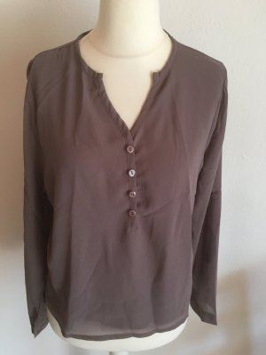 Bluse Shirt leicht locker Tunika hellbraun taupe TOP NEU