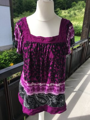 Bluse Shirt locker Tunika Carmen lila boho Gr. M TOP
