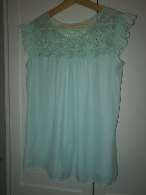 Bluse Shirt / Mint mit Spitze Gr. 38 *NEU