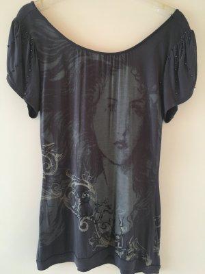 Bluse/Shirt mit Print und extravaganter Rückenansicht, grau