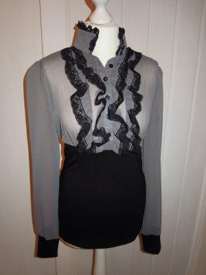 Bluse Shirt Pullover Silvester RINASCIMENTO schwarz grau Gothik Vintage Gr. L