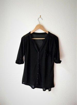 Bluse Shirt schwarz 3/4-Arm transparent Knopfleiste Stehkragen 38