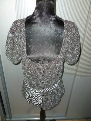 Bandolera Short Sleeved Blouse white-dark grey