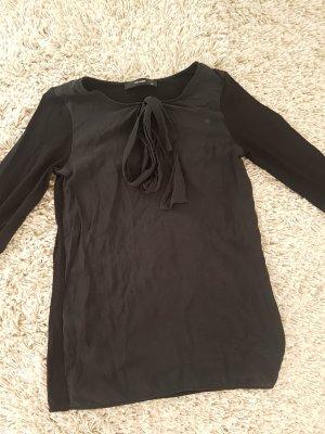 Bluse Shirt Seide Schwarz Schleife XS