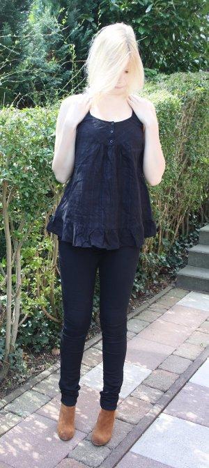 Bluse Shirt Sommer 36 S M Schwarz luftig Rüschen