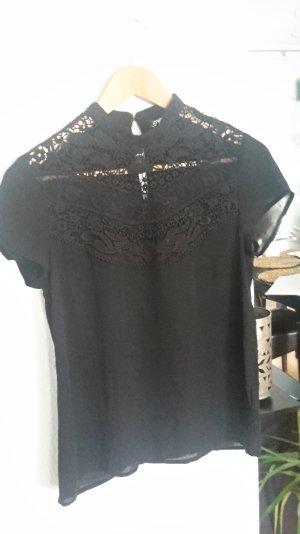 Bluse Shirt Spitze Kurzarm Chiffon Edel Business