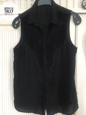 Bluse Shirt Tally Weijl Größe 36 schwarz mit Spitze