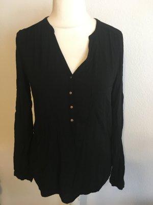 Bluse Shirt Tunika schwarz leicht Langarm Basic Gr. L