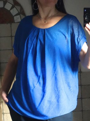 Bluse, Shirt, Viskose, Kobaltblau, Royalblau, oversize, weit, Gummizug, Rundhals, Falten, angeschnittene Ärmel, gefüttert, neuwertig, Italy, Gr. M/L