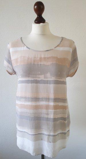 Bluse/ Shirt von Opus * Gr.38 * weiß - beige - grau - gemustert * Materialmix