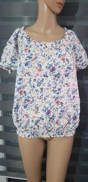 bluse shirt weiß mit blumen muster