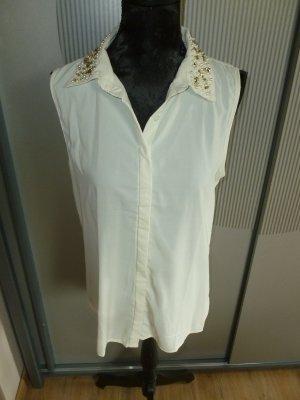 Bluse Shirt weiß Steinchen Amisu 38 M neu