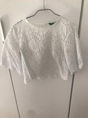 Bluse / Shirt Zara Lochstickerei Gr.34 weiß