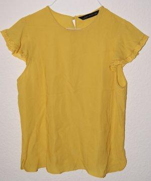 Bluse Shirt Zara Viskose gelb XS 34 36
