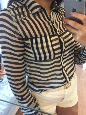 Bluse sommerlich schwarz weiß gestreift XS S neu