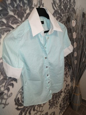 Blusa blanco-turquesa