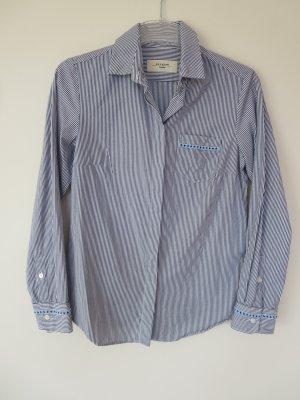 Bluse Streifen blau weiß D34 Baumwolle Business edel