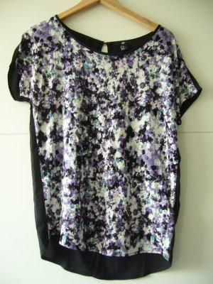 Bluse T-Shirt floraler Print Rückseite schwarz H&M XS 34 schwarz weiß lila violett