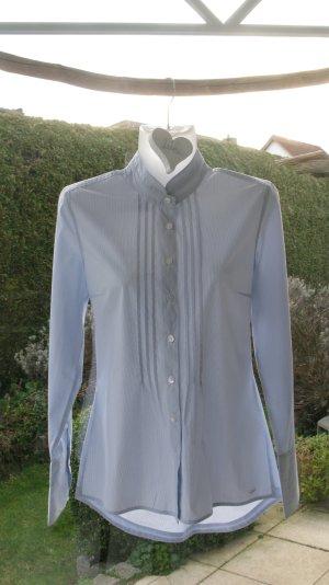 Bluse, tailliert, lang, S.Oliver, hellblau/weiß, Größe 36