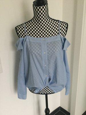 Bluse Top Gr. S M hellblau mit Träger zu Jeans, Rock, Hose Streifen Carmen