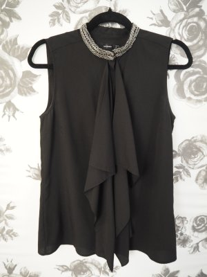 Hallhuber Sleeveless Blouse black-silver-colored