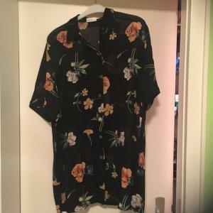 Bluse + Top schwarz transparent – Blumenmuster – Grösse 44