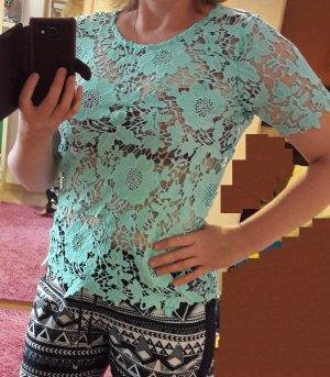 Bluse Top Shirt Spitze T-Shirt Vero Moda Gr. L/40 Kurzarm Tunika Neu Spitzentop