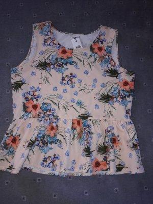 Bluse Top Shirt T-Shirt Gr. L/40 Tunika Vero Moda Blogger fashion Blumenprint Peplum