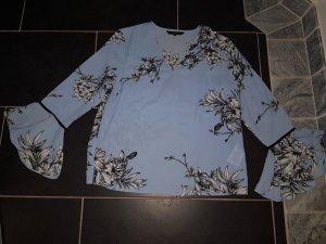 Bluse Top Shirt T-Shirt Gr. M (38) Tunika Long Rüschen Volants Blogger Blumenprint