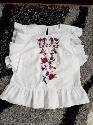 Bluse Top Shirt T-Shirt Only Gr 36 (S) locker Neu Baumwolle ausgenäht Strickerei Rüschen