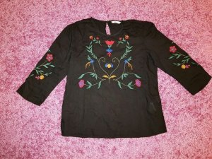 Bluse Top Shirt T-Shirt S (36) Tunika Long Only Neu 3/4 Arm Stickerei Blogger