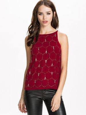 Bluse Top Shirt T-Shirt Vero Moda Gr. L/40 Tunika Shirt Long Spagettiträger rot