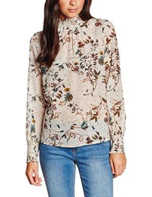 Bluse Top Shirt T-Shirt Vero Moda Gr. M/38 Langarm Tunika Print Blumen Neu beige