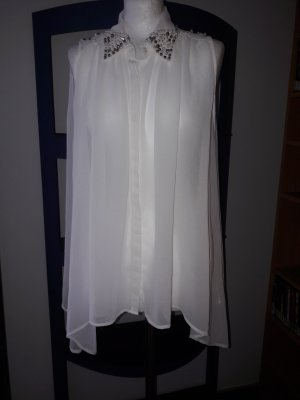 Bluse Top Shirt T-Shirt Vero Moda Gr M/L 38/40 Tunika NEU Party weiß Perlen €40