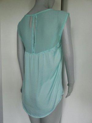 Bluse Top Shirt vokuhila oversize dip hem mint grün bershka zara transparent