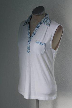 Bluse Top Sommer ärmellos blau weiß Streublumen Gr. M L 42 Oberteil