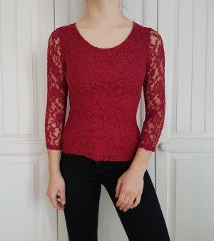 Bluse Top Spitze Rot Burgunder M Muster Oberteil Pulli Pullover Cardigan